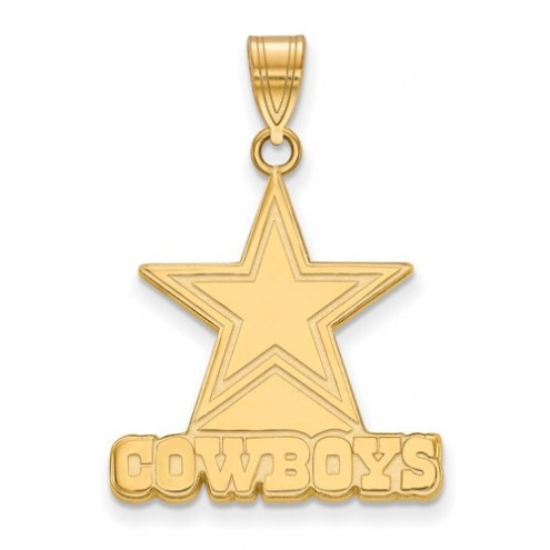 Dallas Cowboys Sterling Silver Gold Plated Large Pendant