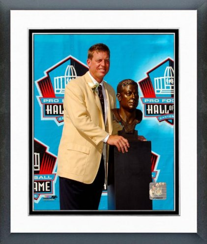 Dallas Cowboys Troy Aikman 2006 Hall of Fame With Bust Framed Photo