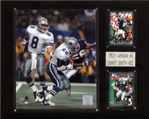 "Dallas Cowboys Troy Aikman & Emmitt Smith 12 x 15"" Player Plaque"