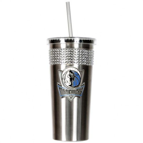 Dallas Mavericks Stainless Steel Bling Tumbler with Straw