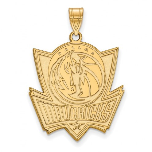 Dallas Mavericks Sterling Silver Gold Plated Extra Large Pendant