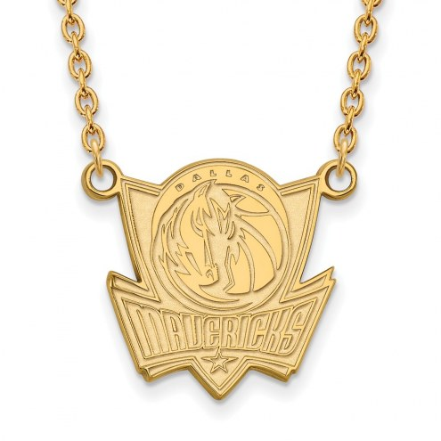 Dallas Mavericks Sterling Silver Gold Plated Large Pendant Necklace