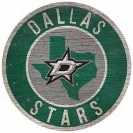 """Dallas Stars 12"""" Circle with State Sign"""