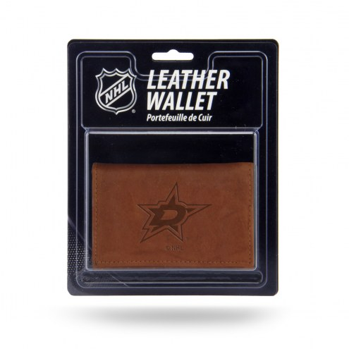 Dallas Stars Brown Leather Trifold Wallet