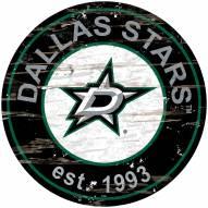 Dallas Stars Distressed Round Sign