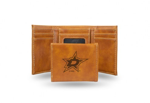Dallas Stars Laser Engraved Brown Trifold Wallet