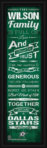 Dallas Stars Personalized Family Cheer Framed Art