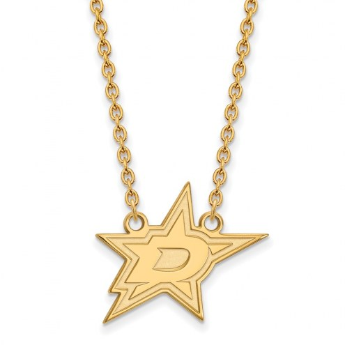 Dallas Stars Sterling Silver Gold Plated Large Pendant Necklace