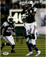 Darrelle Revis Signed Intercepting Football vs. Cowboys 8 x 10 Photo (Signed in Black) 8 x 10 Photo