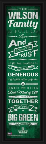 Dartmouth Big Green Personalized Family Cheer Framed Art