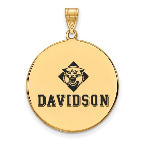 Davidson Wildcats Sterling Silver Gold Plated Extra Large Enameled Disc Pendant