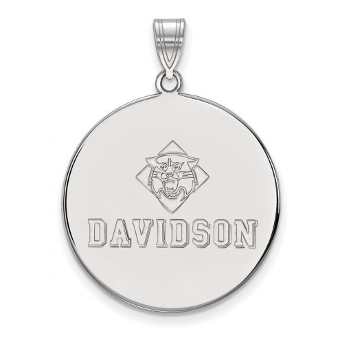 Davidson Wildcats Sterling Silver Extra Large Disc Pendant