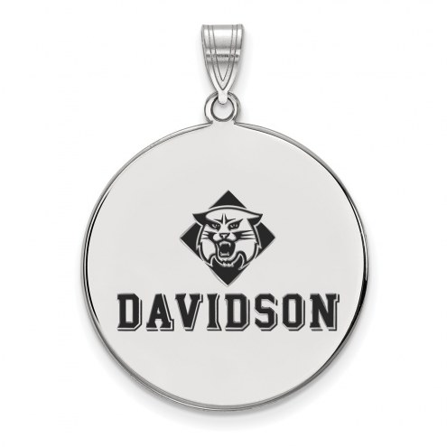 Davidson Wildcats Sterling Silver Extra Large Enameled Disc Pendant