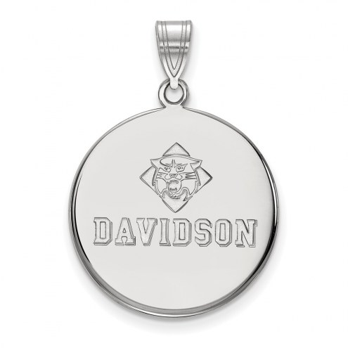Davidson Wildcats Sterling Silver Large Disc Pendant