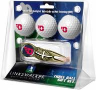 Dayton Flyers Gold Crosshair Divot Tool & 3 Golf Ball Gift Pack