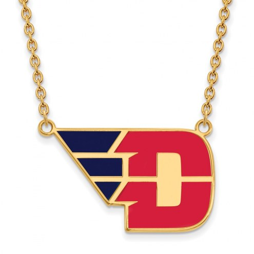 Dayton Flyers Sterling Silver Gold Plated Large Enameled Pendant Necklace