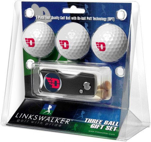 Dayton Flyers Golf Ball Gift Pack with Spring Action Divot Tool