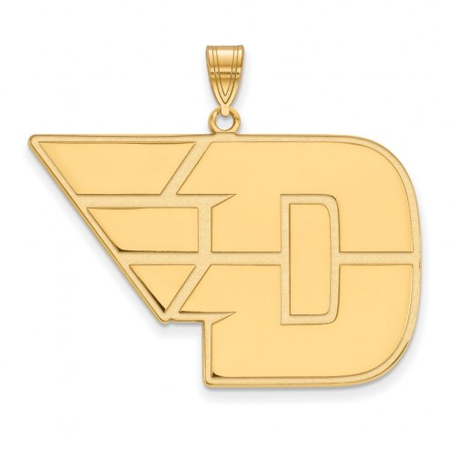 Dayton Flyers Sterling Silver Gold Plated Extra Large Pendant