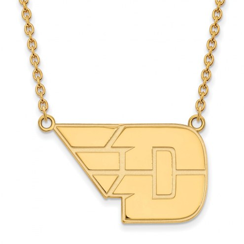 Dayton Flyers Sterling Silver Gold Plated Large Pendant Necklace