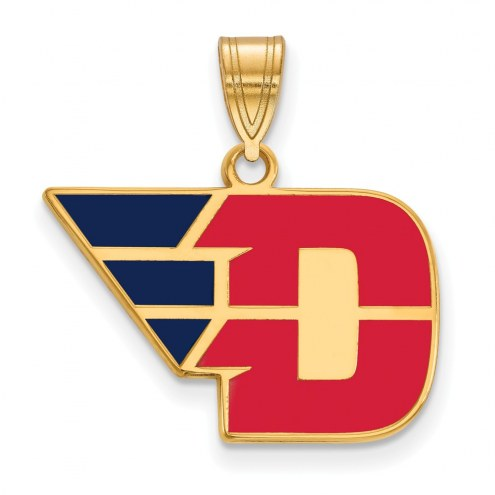 Dayton Flyers Sterling Silver Gold Plated Medium Enameled Pendant