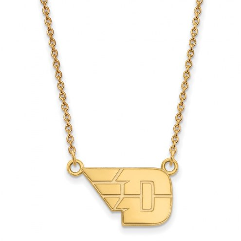 Dayton Flyers Sterling Silver Gold Plated Small Pendant Necklace