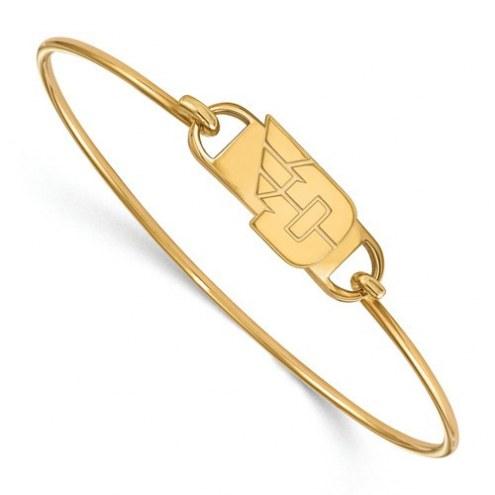 Dayton Flyers Sterling Silver Gold Plated Wire Bangle Bracelet