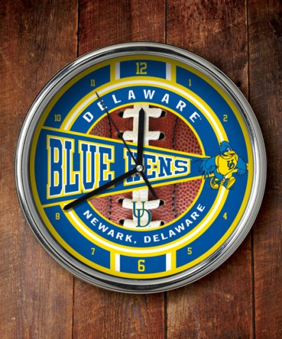 Delaware Blue Hens Chrome Wall Clock