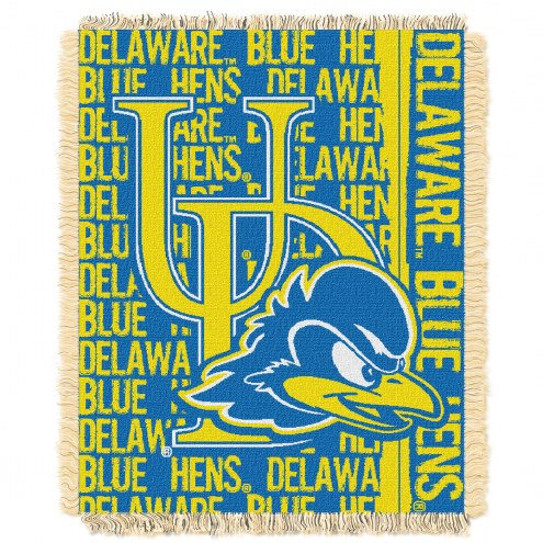 Delaware Blue Hens Double Play Woven Throw Blanket