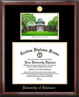 Delaware Blue Hens Gold Embossed Diploma Frame with Campus Images Lithograph