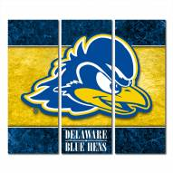 Delaware Blue Hens Triptych Double Border Canvas Wall Art