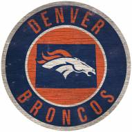 """Denver Broncos 12"""" Circle with State Sign"""