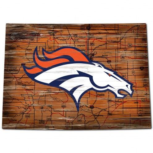 """Denver Broncos 12"""" Roadmap State Sign"""
