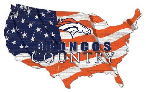 """Denver Broncos 15"""" USA Flag Cutout Sign"""