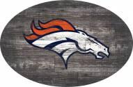 """Denver Broncos 46"""" Distressed Wood Oval Sign"""