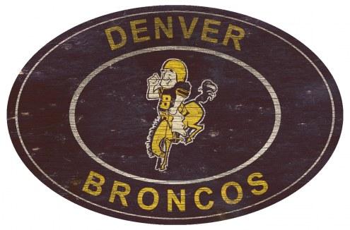 """Denver Broncos 46"""" Heritage Logo Oval Sign"""
