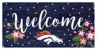 """Denver Broncos 6"""" x 12"""" Floral Welcome Sign"""