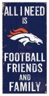 """Denver Broncos 6"""" x 12"""" Friends & Family Sign"""