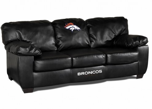 Denver Broncos Black Leather Classic Sofa