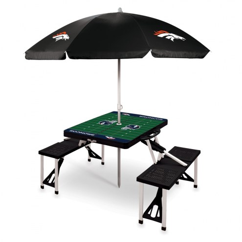 Denver Broncos Black Picnic Table w/Umbrella