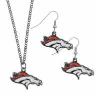 Denver Broncos Dangle Earrings & Chain Necklace Set