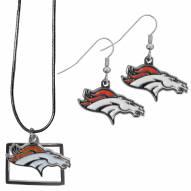 Denver Broncos Dangle Earrings & State Necklace Set