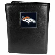 Denver Broncos Deluxe Leather Tri-fold Wallet in Gift Box