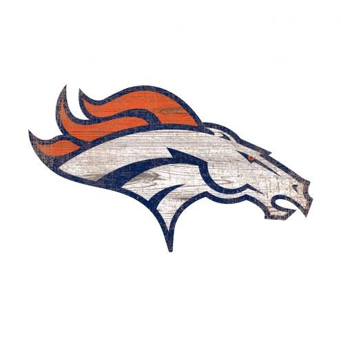 Denver Broncos Distressed Logo Cutout Sign