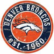 Denver Broncos Distressed Round Sign