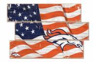 Denver Broncos Flag 3 Plank Sign