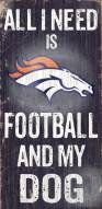 Denver Broncos Football & Dog Wood Sign