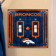 Denver Broncos Glass Double Switch Plate Cover