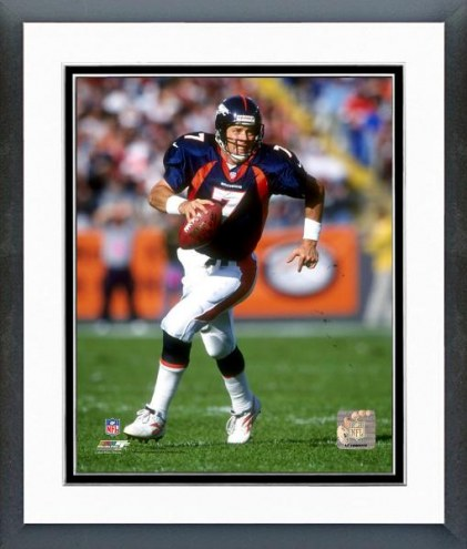 Denver Broncos John Elway Rolling Out, Action Framed Photo