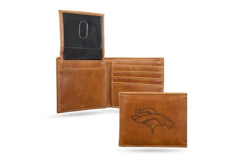 Denver Broncos Laser Engraved Brown Billfold Wallet