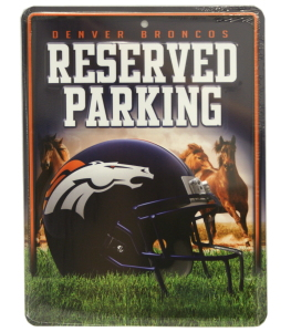 Denver Broncos Metal Parking Sign